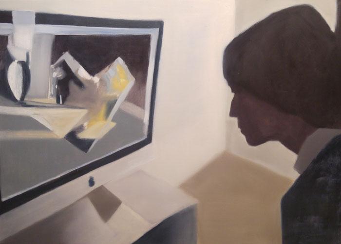 """""""Looking at the computer screen (Delfina)"""" 2013, olio su tela, 79 x 120 cm"""