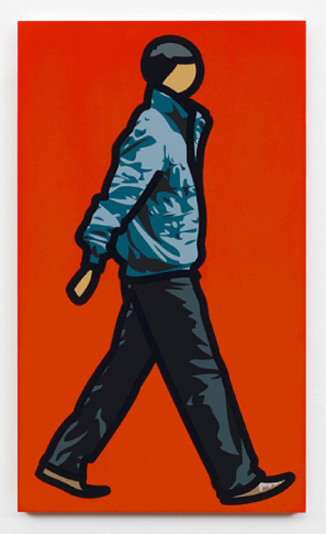 """""""Man in parka"""" 2012, serigrafia su tavola di legno, 100 x 58.4 x 3 cm"""