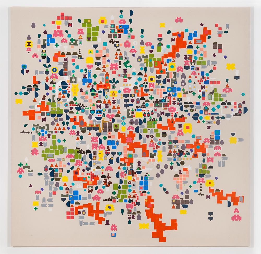 """Mandu"" 2011, tecnica mista su tela, 216.5 x 216 cm"