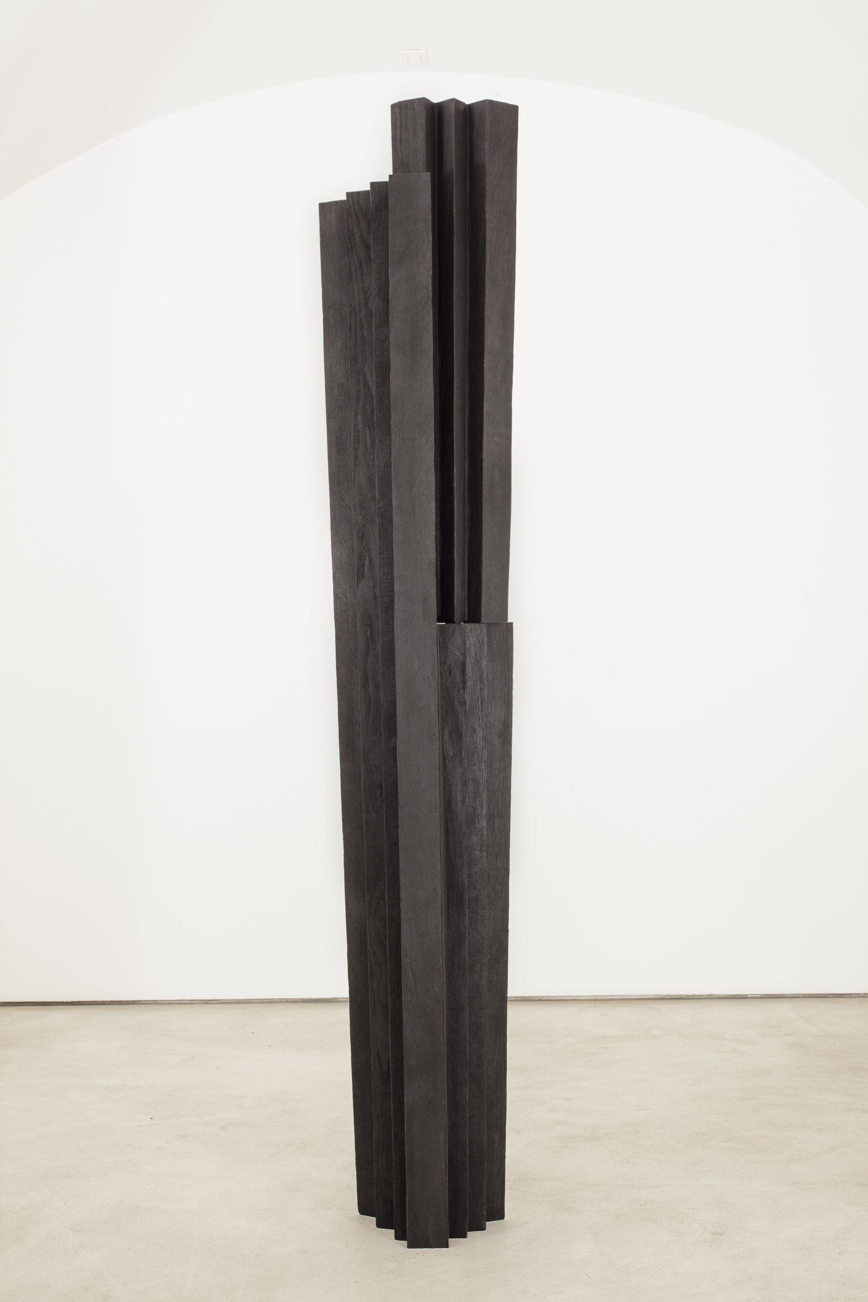 """""""Senza titolo"""" 2012, legno combusto, 228 x 40 x 20 cm"""