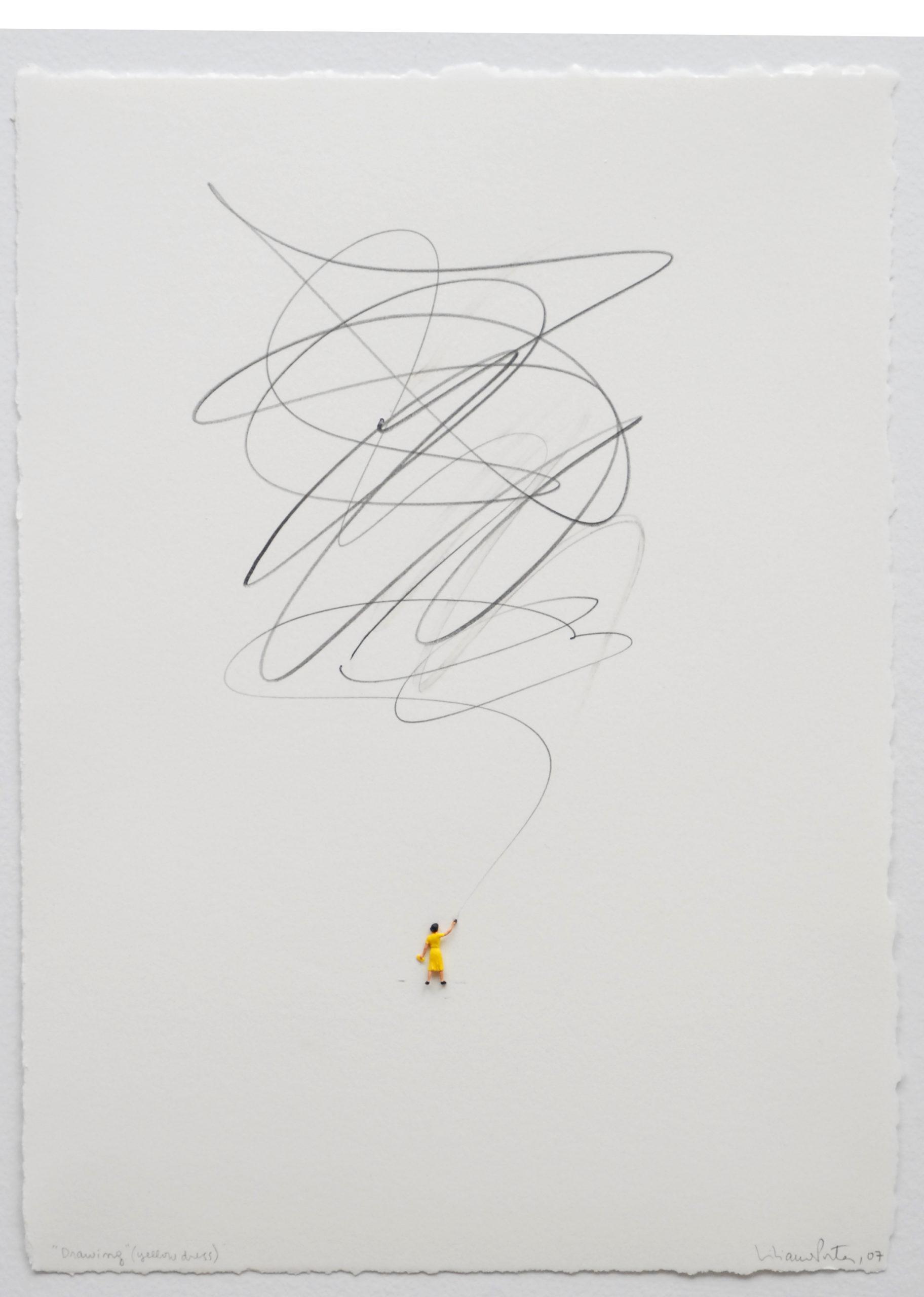 """Drawing yellow dress"" tecnica mista"