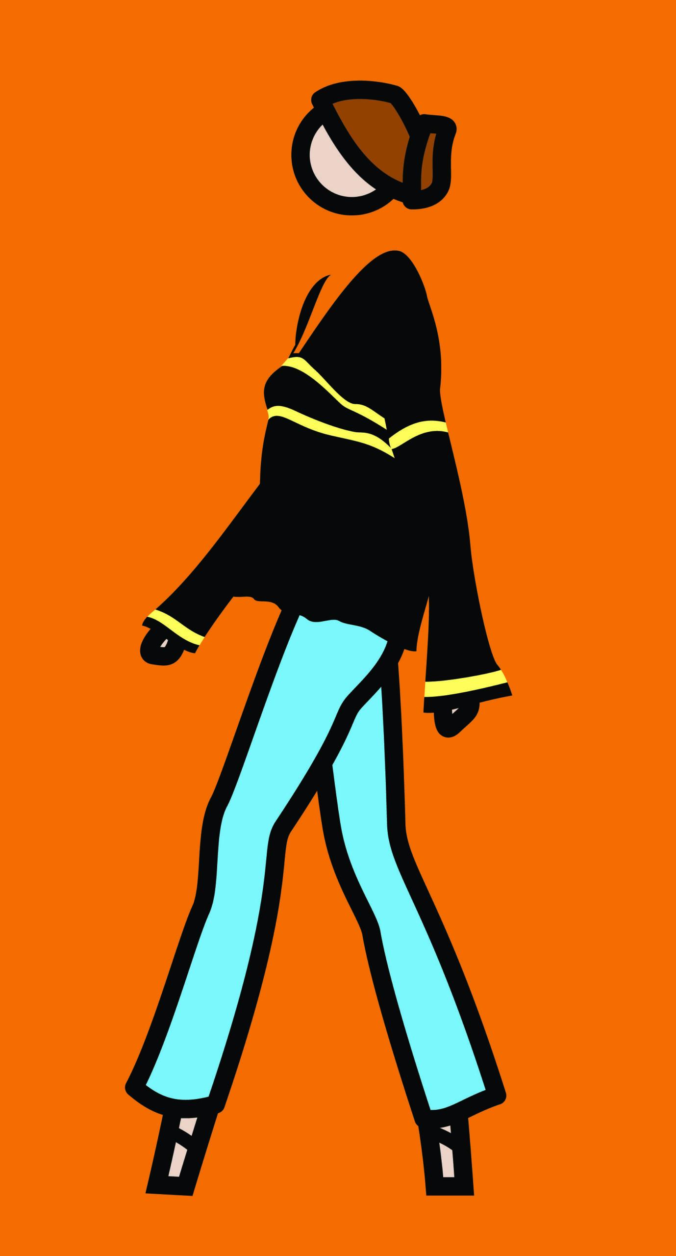 """Ruth walking in jeans"" 2008, serigrafia su tavola di legno dipinta, 88.8 x 47.8 cm"