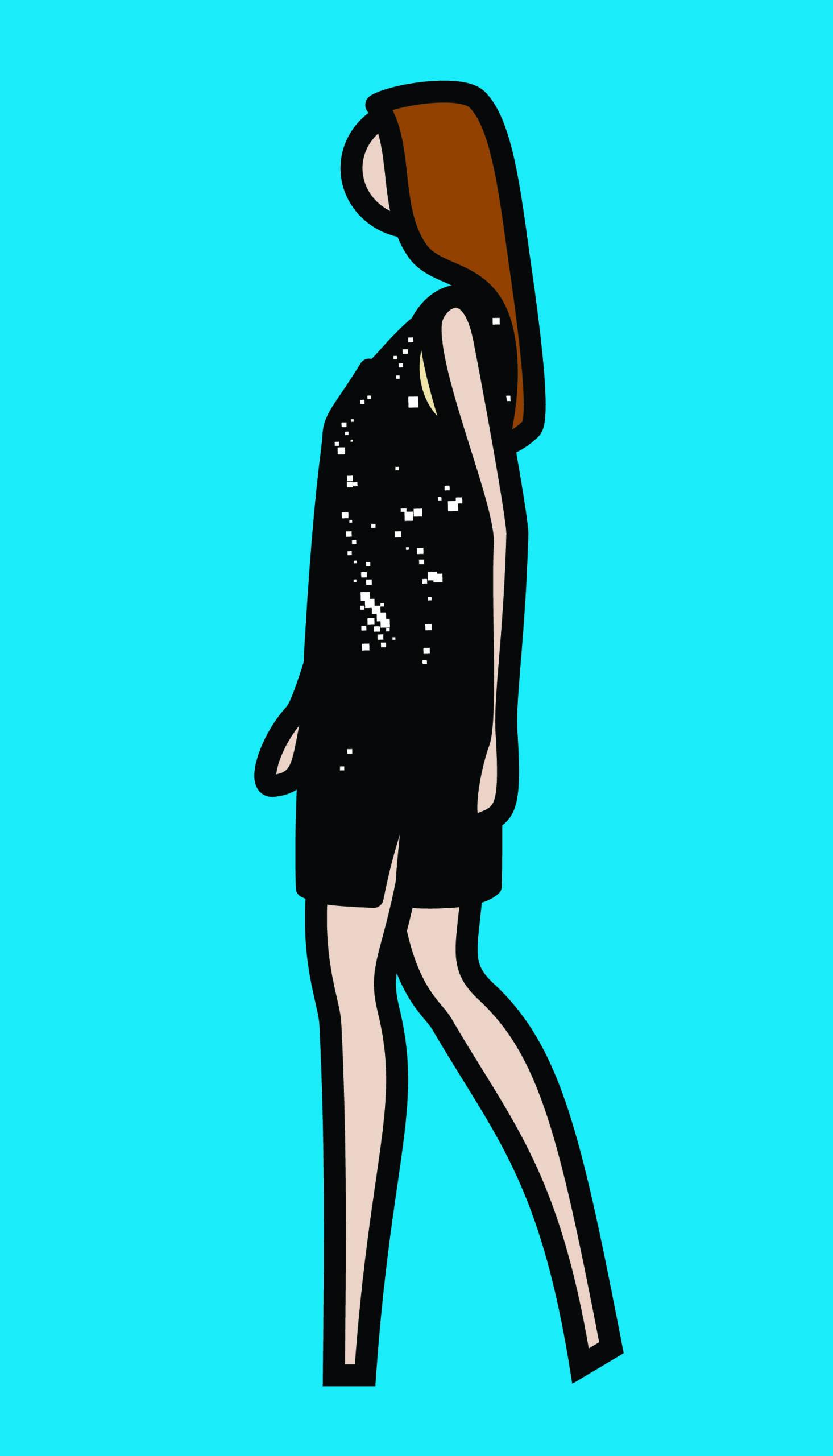 """""""Ruth walking in sparkly dress"""" 2008, serigrafia su tavola di legno dipinta, 88.8 x 47.8 cm"""