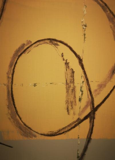 """Untitled (Merz)"" 2019, olio su tela, 50 x 60 cm"