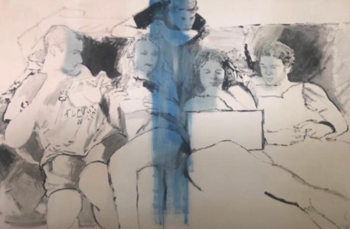 """""""New groups (young Greeks)"""" 2019, olio su compensato, 125.5 x 184 cm"""