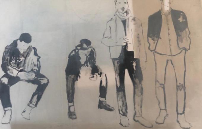"""New groups (young Germans)"" 2019, olio su compensato, 125.5 x 184 cm"