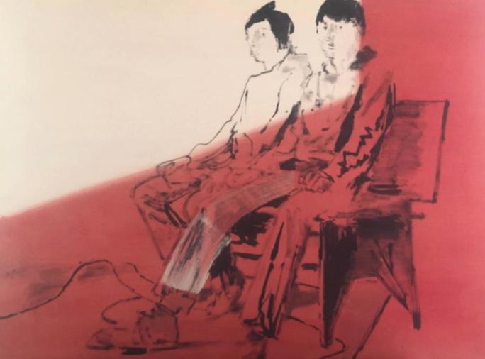 """New groups (tweens)"" 2019, olio su compensato, 126.5 x 93.5 cm"