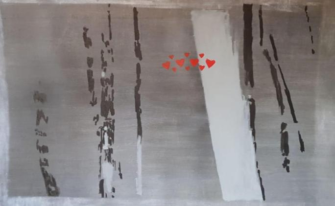"""""""Nora's zone (love)"""" 2019, olio su compensato, 177.8 x 111.1 cm"""
