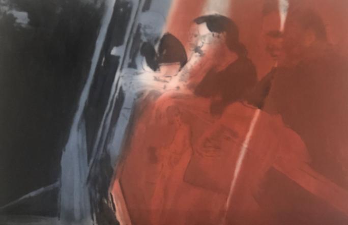 """""""New groups (young Americans)"""" 2019, olio su compensato, 125.5 x 184 cm"""