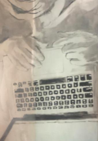 """Looking (at his computer)"" 2019, olio su compensato, 126.5 x 93.5 cm"