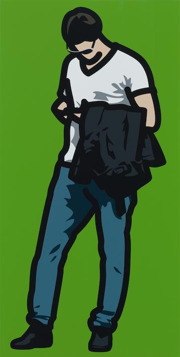 """Man wearing dark glasses, texting with his jacket over his arm"" 2013, serigrafia su tavola di legno dipinta, 95.2 x 47.9 cm"