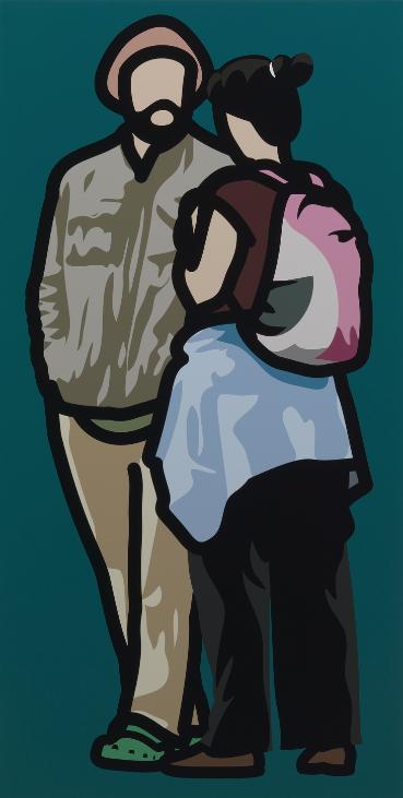 """Man with beret talking to woman with rucksack"" 2013, serigrafia su tavola di legno dipinta, 100 x 65 cm"