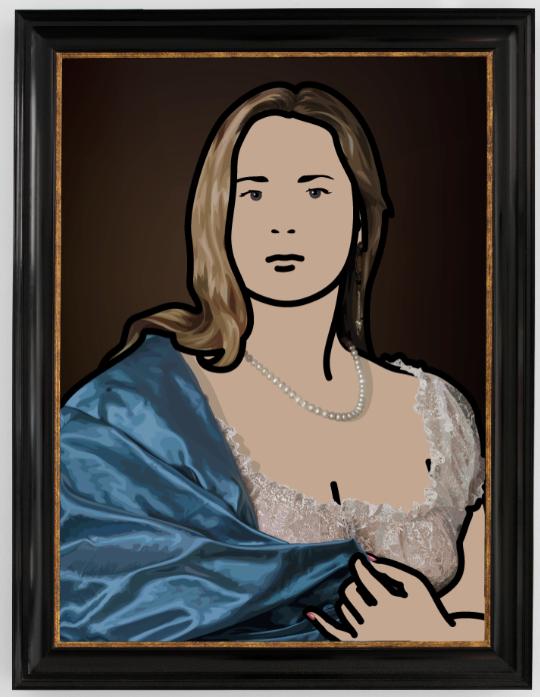 """Antonia with yellow shawl 2"" 2008, inchiostro su tela, 120 x 83.9 cm"