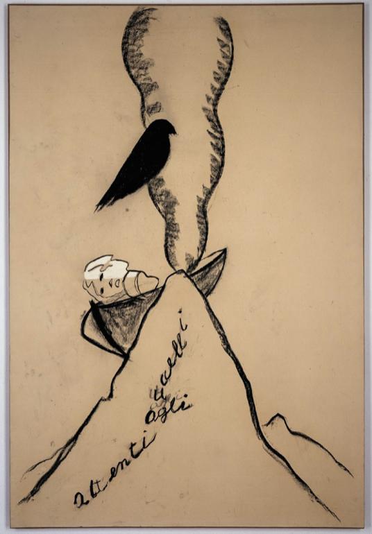 """""""Attenti agli uccelli"""" 1991, tecnica mista su cartone, 170 x 150 cm"""