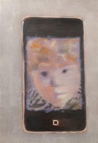 """""""Selfie painting"""" 2013, olio su tela, 49.5 x 34.5 cm"""