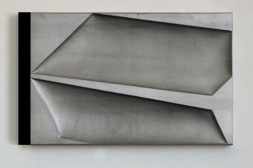 """""""Senza titolo"""" 2012, piombo su legno, 45 x 73 x 4 cm"""