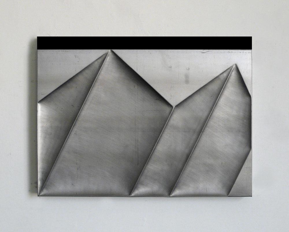 """""""Senza titolo"""" 2012, piombo su legno, 49 x 65 x 4 cm"""