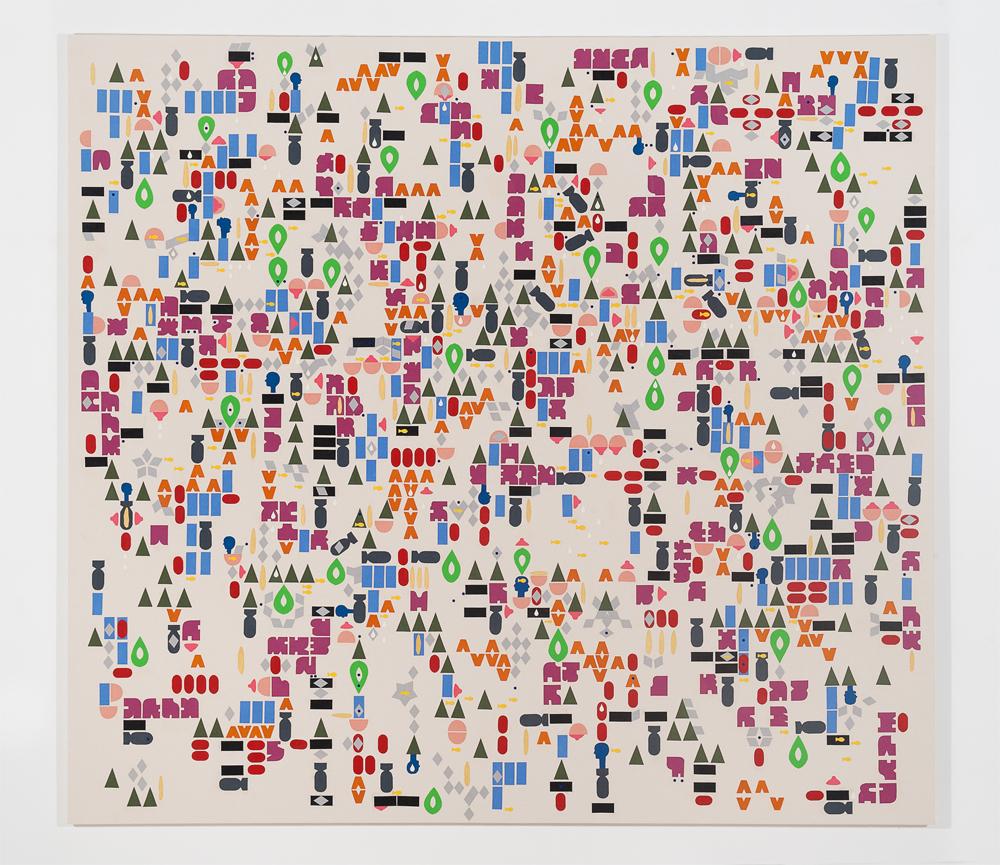 """Shlak"" 2011, tecnica mista su tela, 220 x 200 cm"