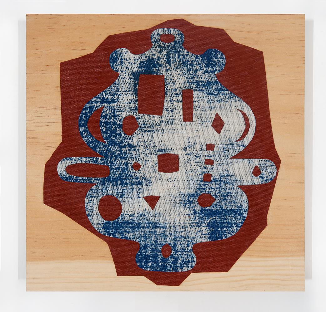 """""""Squo"""" 2011, collage di stoffa su legno, 29 x 28.5 cm"""