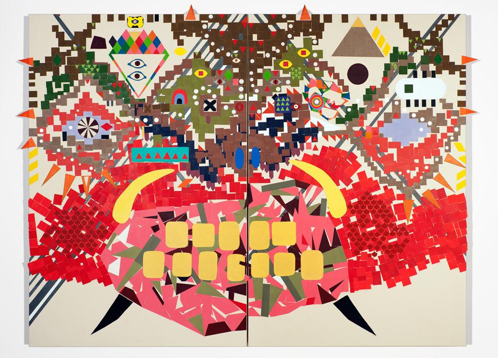 """""""Ugama"""" 2011, collage di staffa su tela, 258 x 200 cm"""