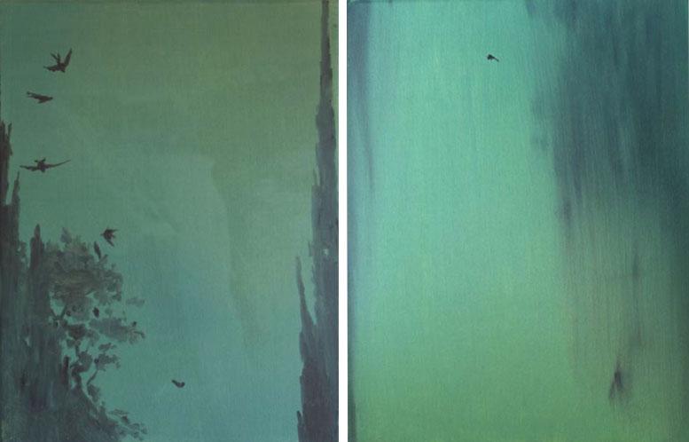 """""""Untitled (nature)"""" 2009, olio su tela, 35 x 45 cm ognuna"""