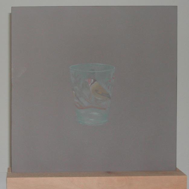"""""""Senza titolo"""" opera su vetro e base in legno, 42 x 42 cm"""