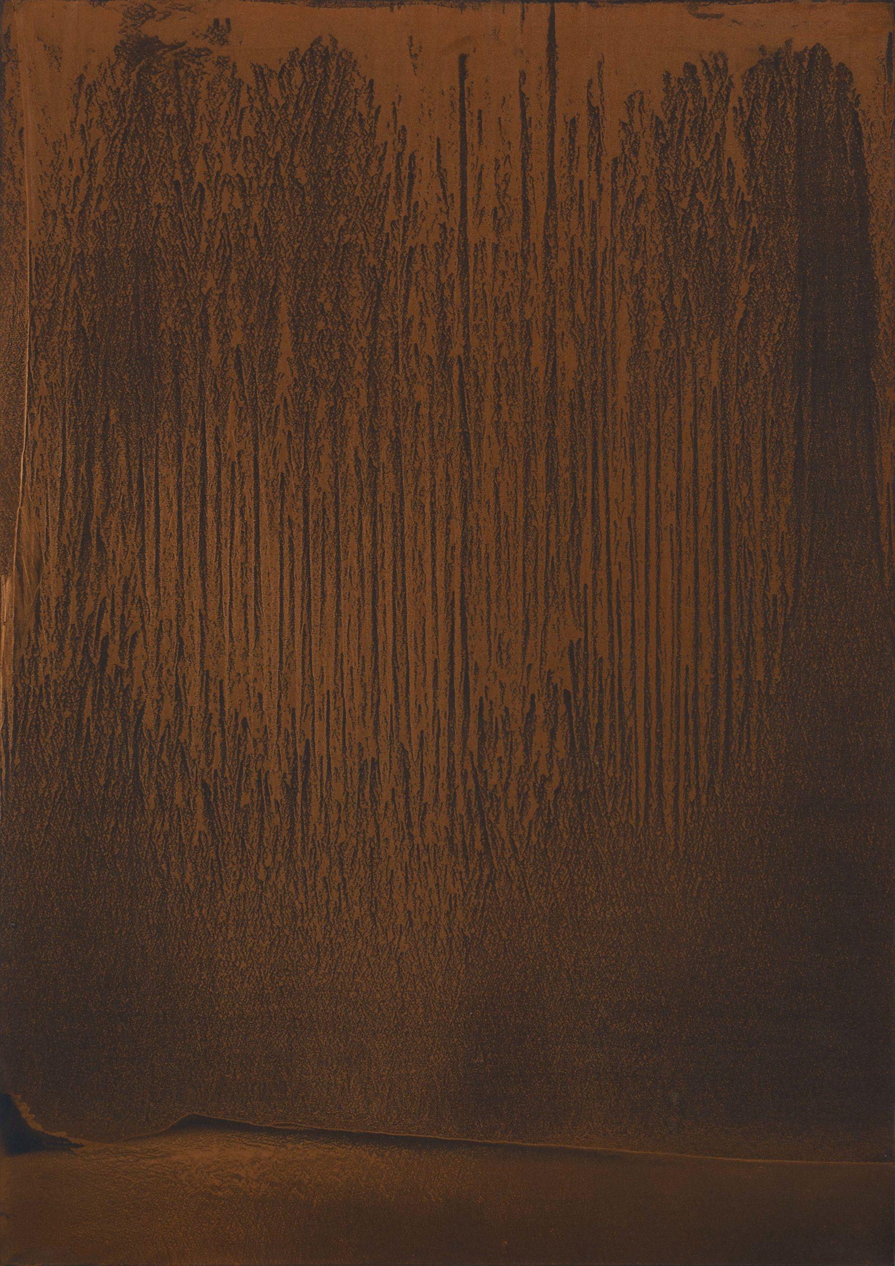 """""""Tornando a noi"""" 2019, polvere di rame bronzo e alluminio su carta abrasiva su tela, 140 x 200 cm"""