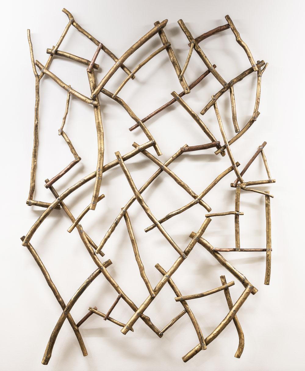 Senza titolo, 2018, legno rame ed incisioni su rame, 200 x 140 x 10 cm