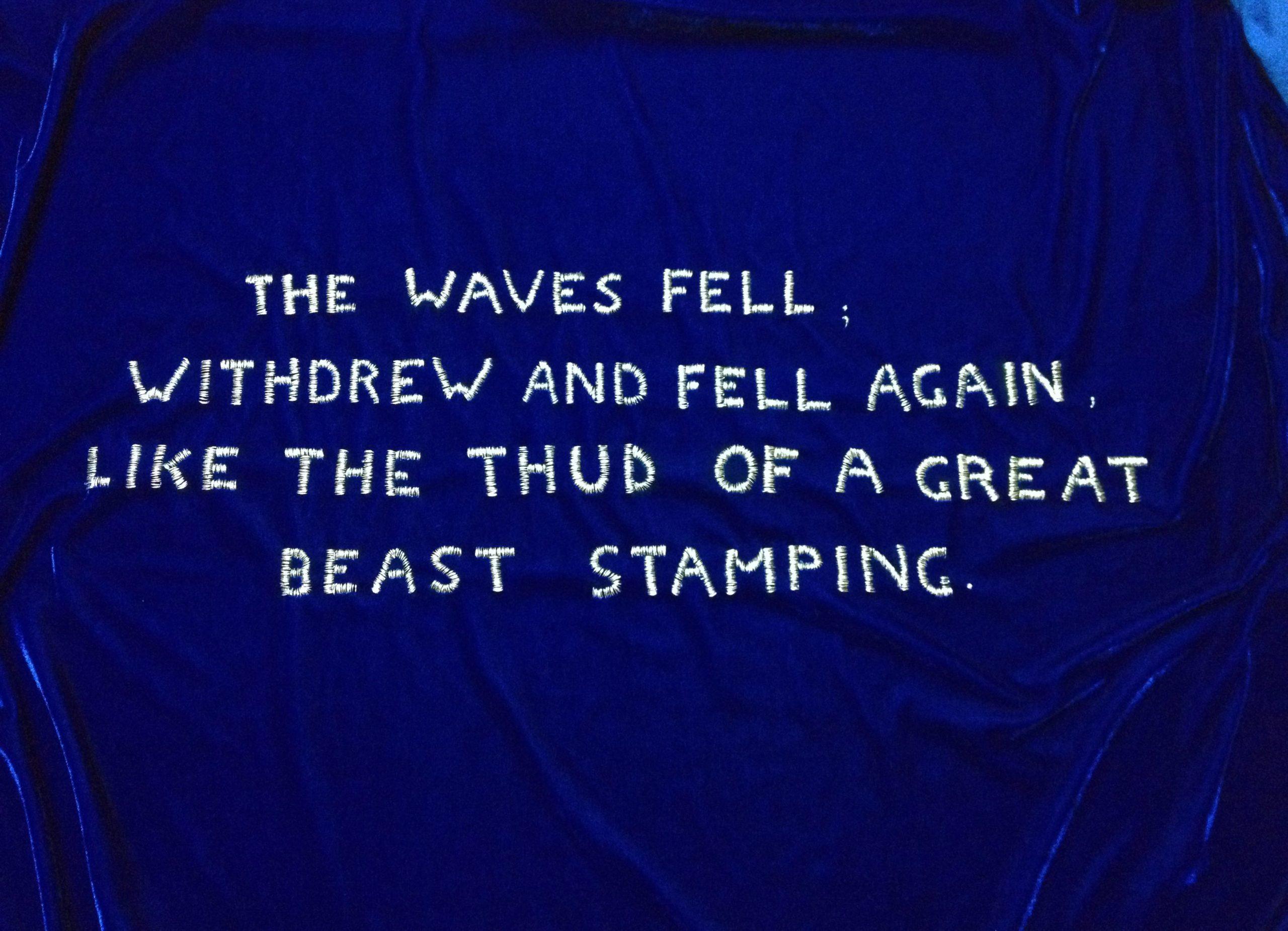 """The waves"" 2014, ricamo su velluto, 100 x 163 cm"