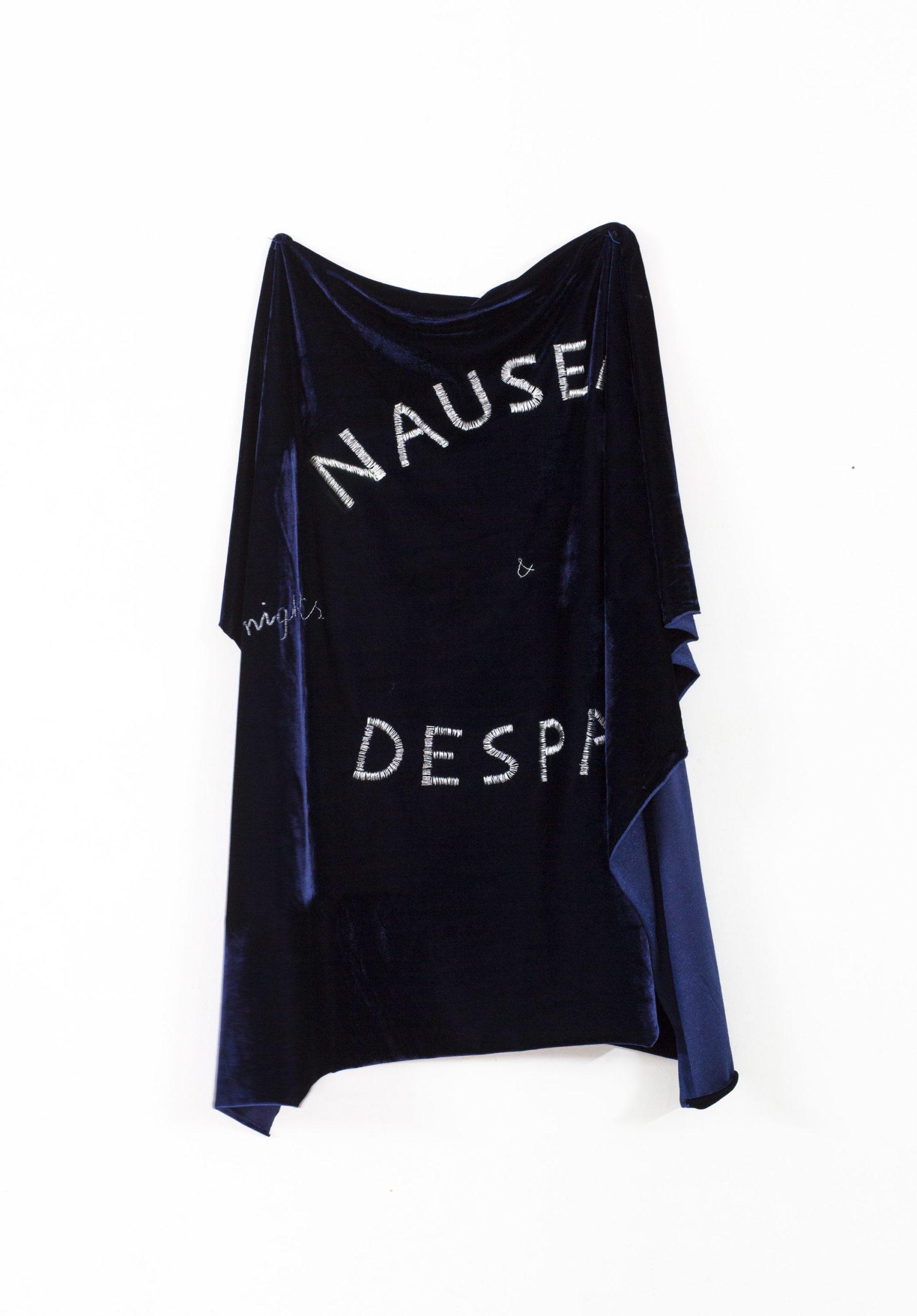 """""""Nausea and despair"""" 2013, ricamo su velluto, 117 x 91.3 cm"""