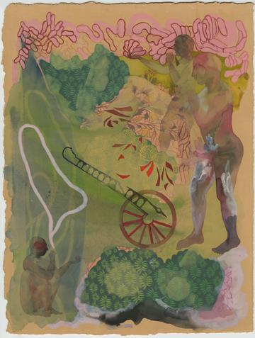 """""""The phallic land-escape"""" 2010, inchiostro e gouache su carta, 38.1 x 28.3 cm"""