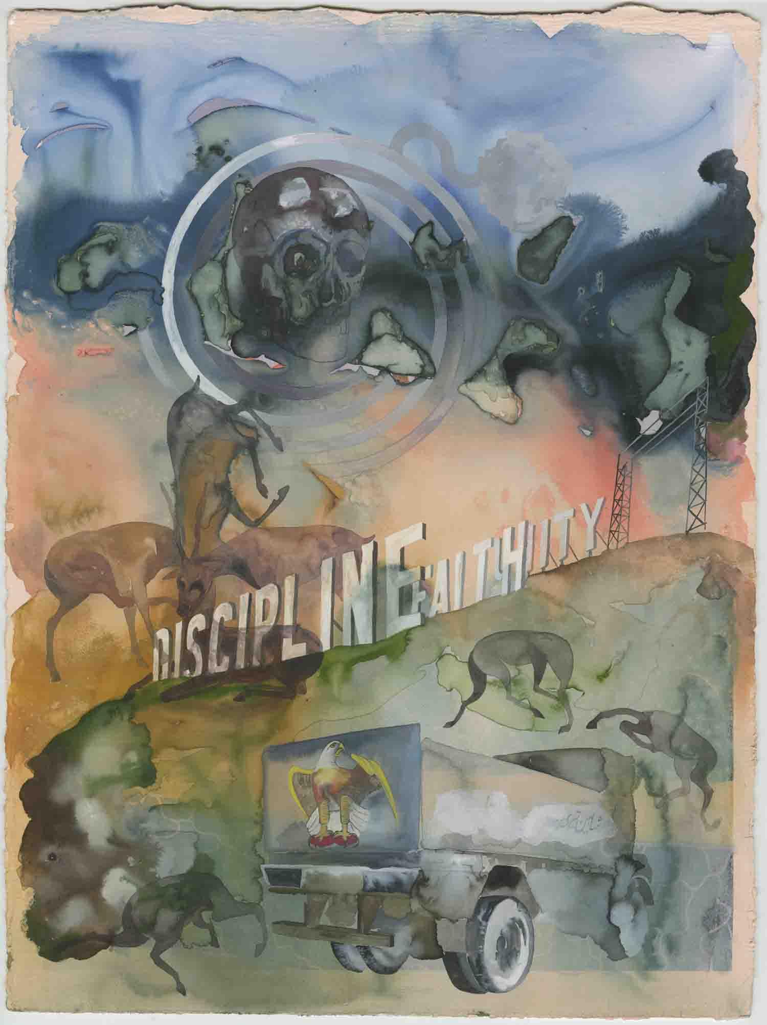 """Headless wonders"" 2010, inchiostro e gouache su carta, 38.1 x 28.3 cm"