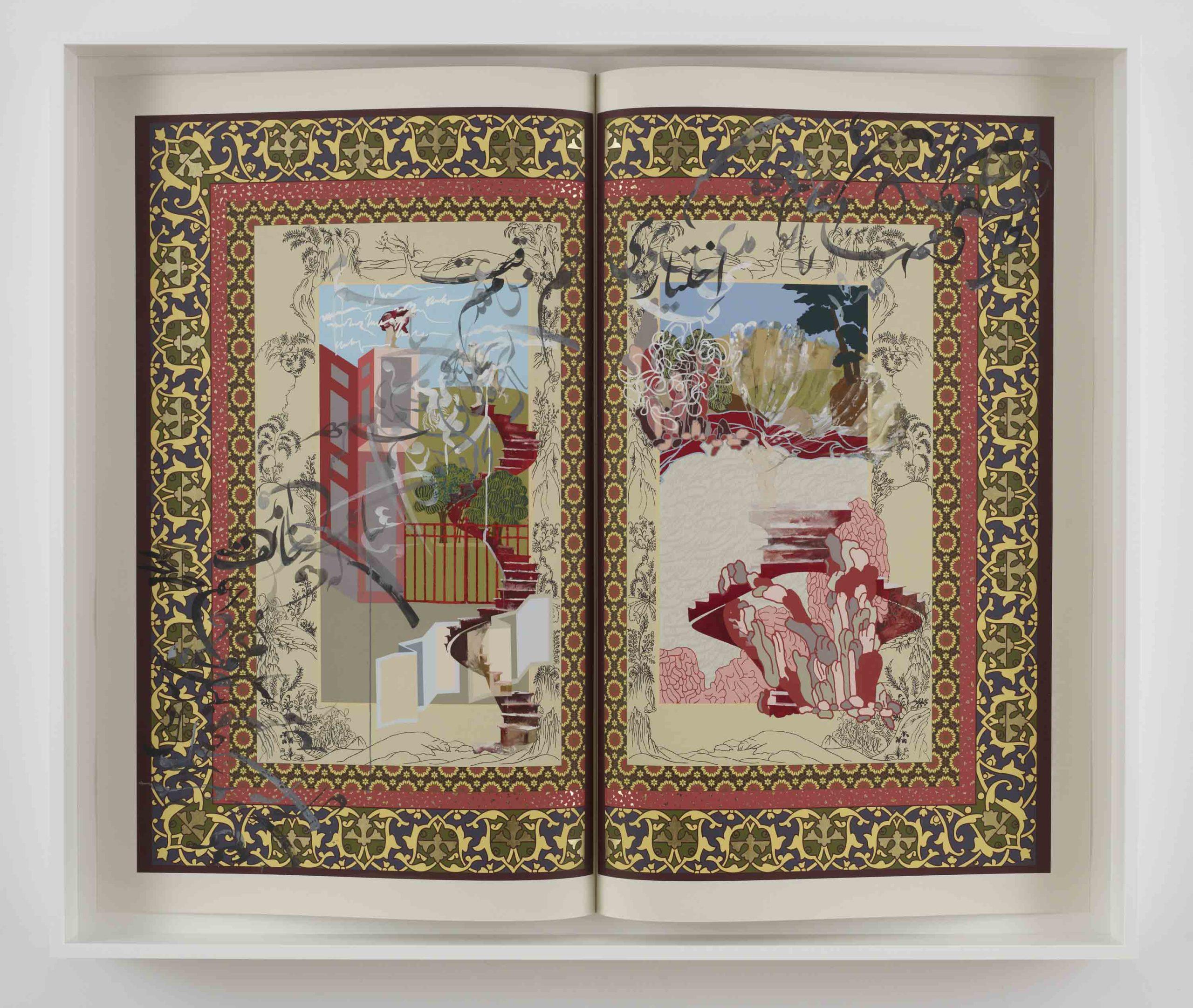 """""""Template for stalemate'"""" 2009, gouache e tecnica mista su carta, 164.4 x 194.3 cm"""