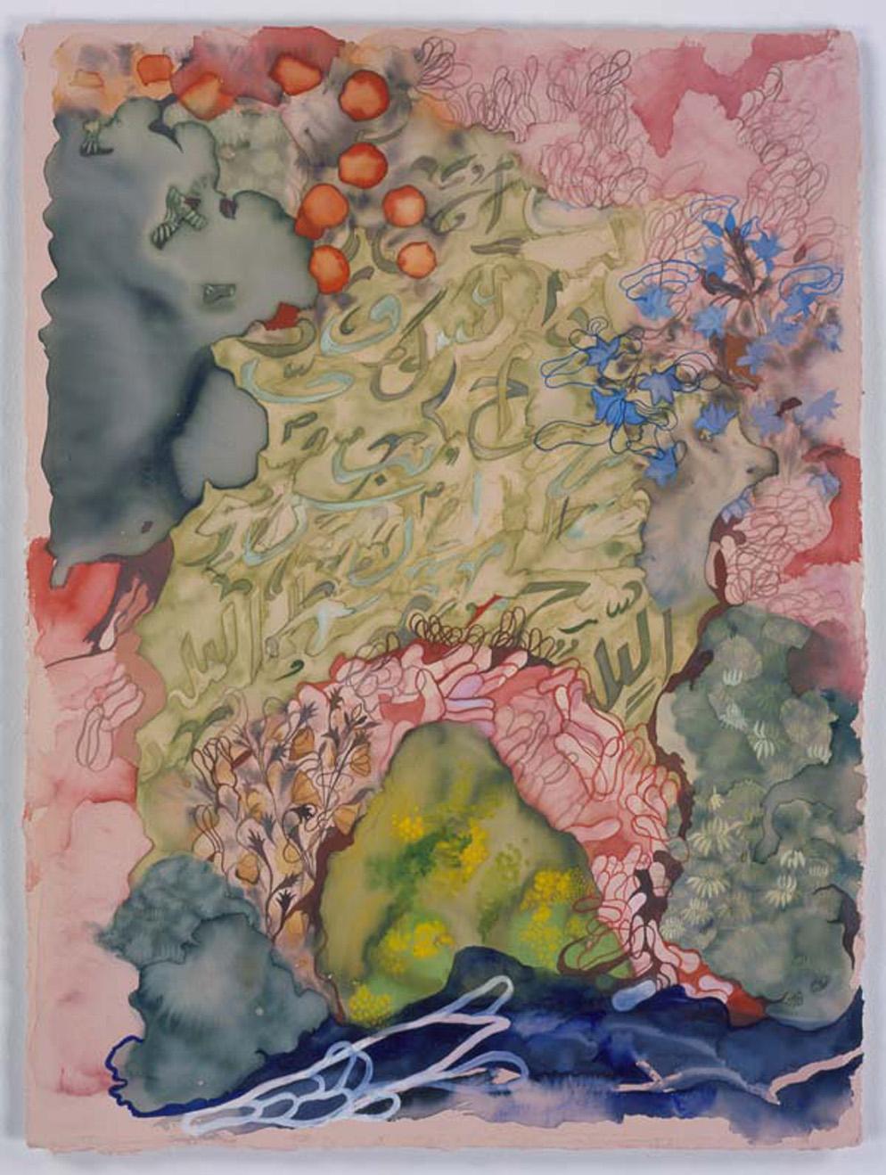 """""""Landscape composite 2"""" 2006, inchiostro e gouache su carta, 38.1 x 28.6 cm"""