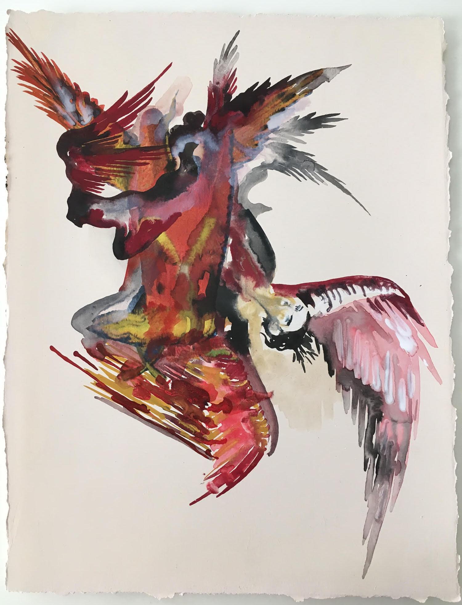 """""""Agon series"""" 2017, acquarello su cartoncino, 38 x 28 cm"""