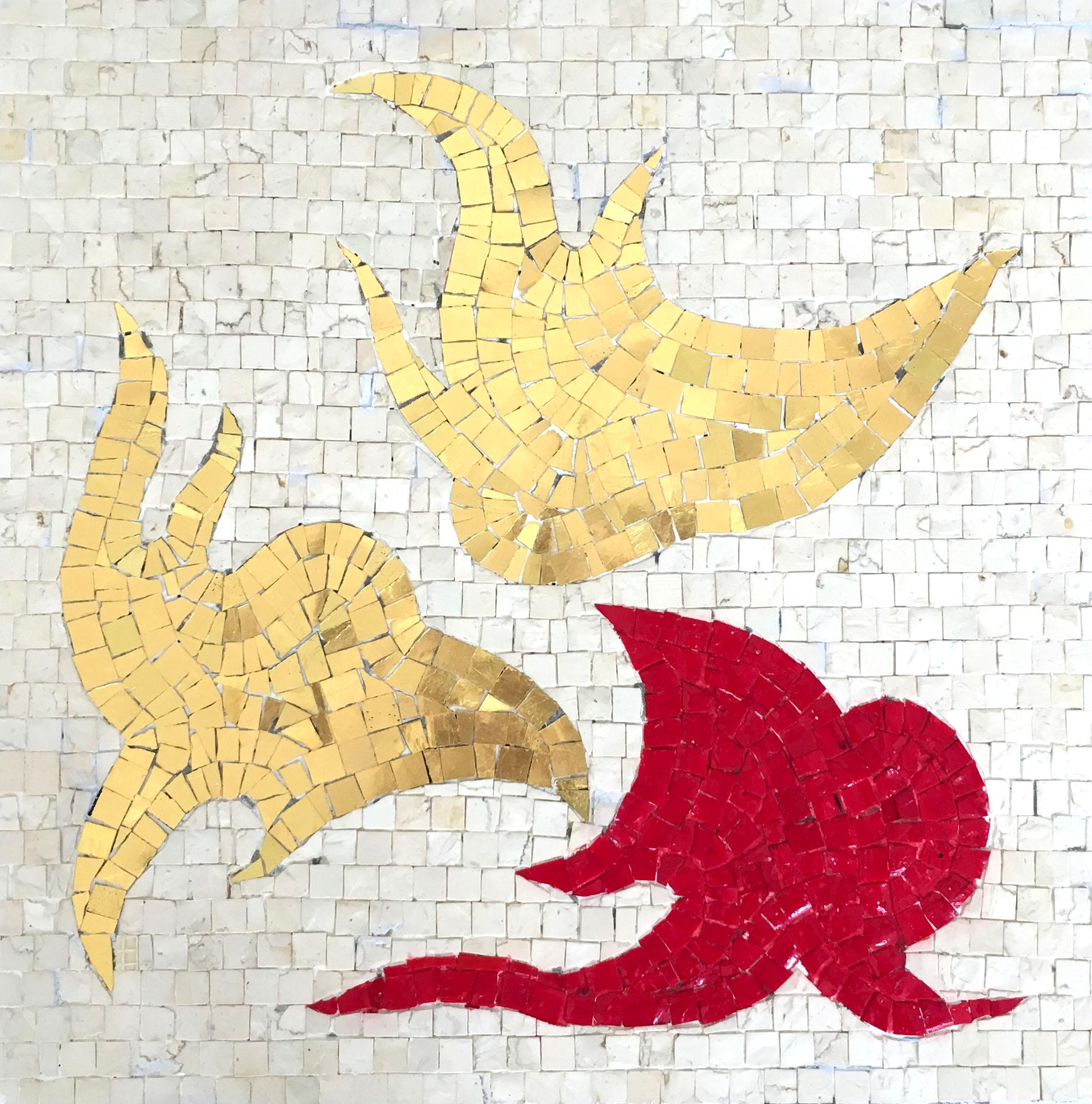 """Silhouette of head"" 2017, mosaico, 37 x 37 cm"