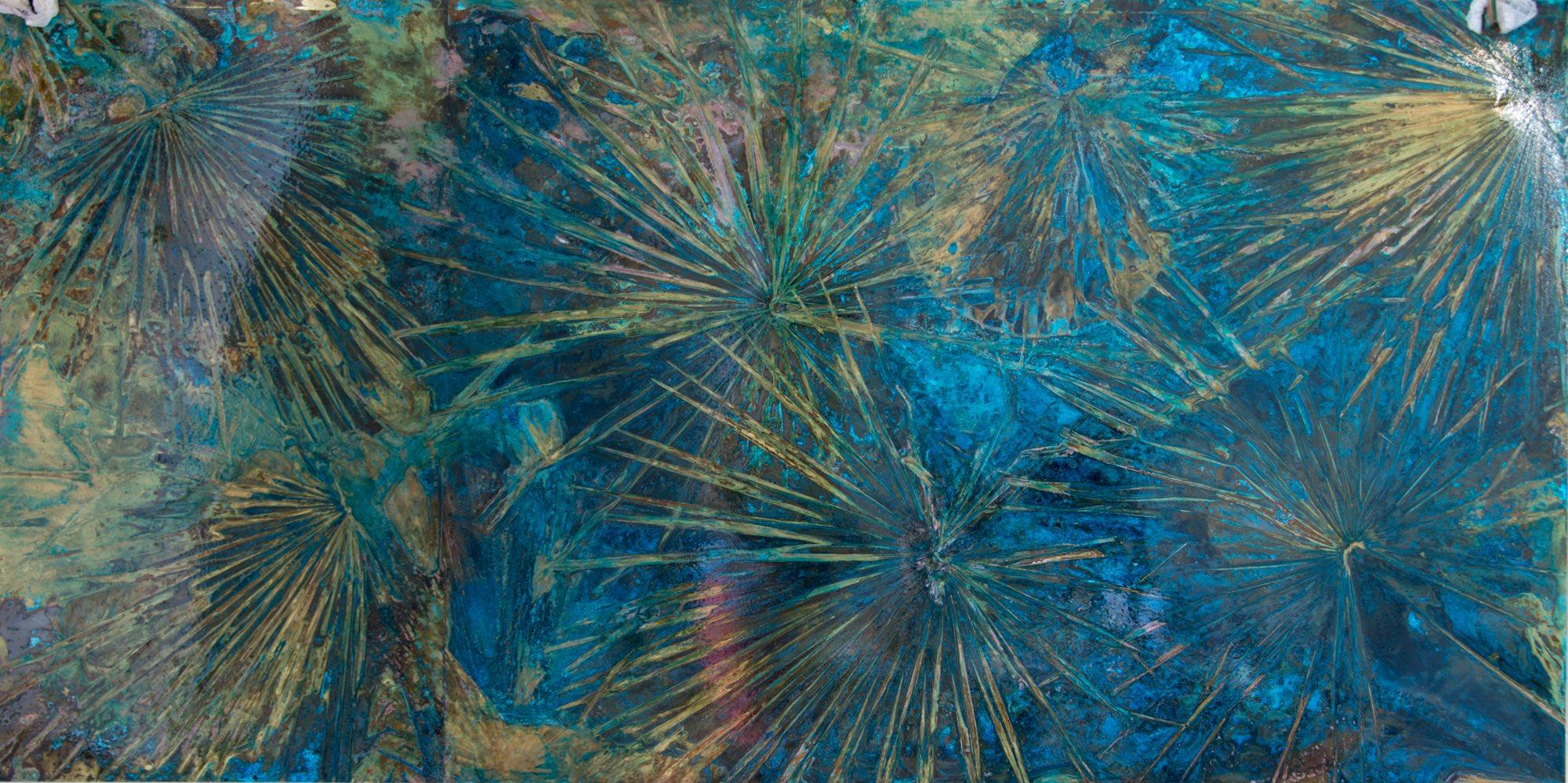 """""""Serenoa Repens"""" ottone ossidato, 200 x 100 cm"""