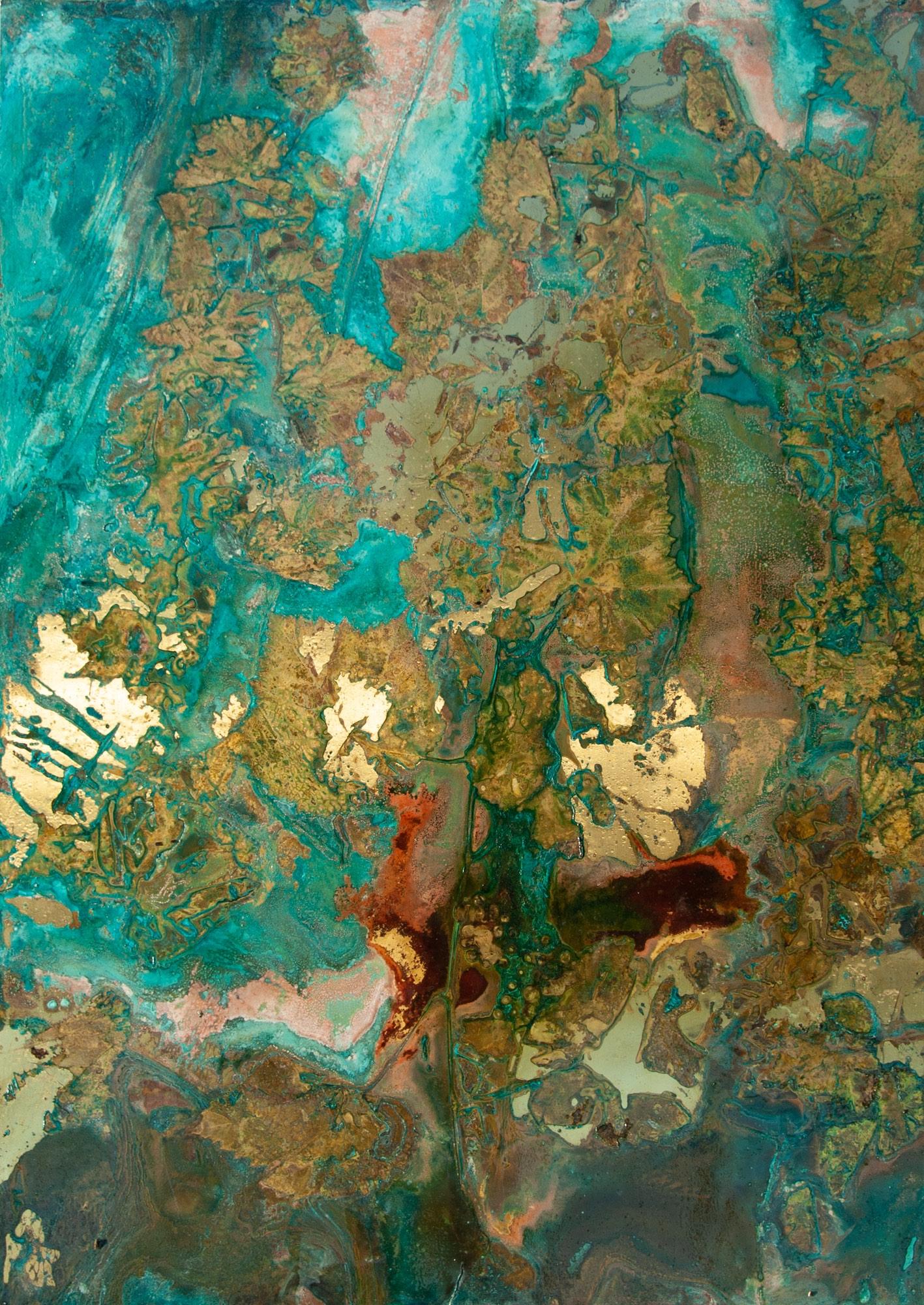 """Cortaderia gynerium"" ottone ossidato, 140 x 100 cm"