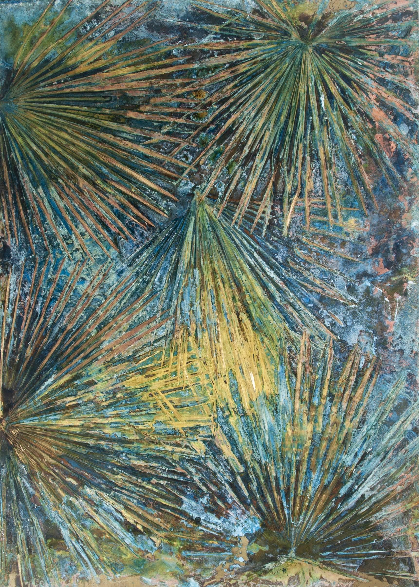 """Chamaerops humilis 2"" ottone ossidato, 100 cm x 140 cm"