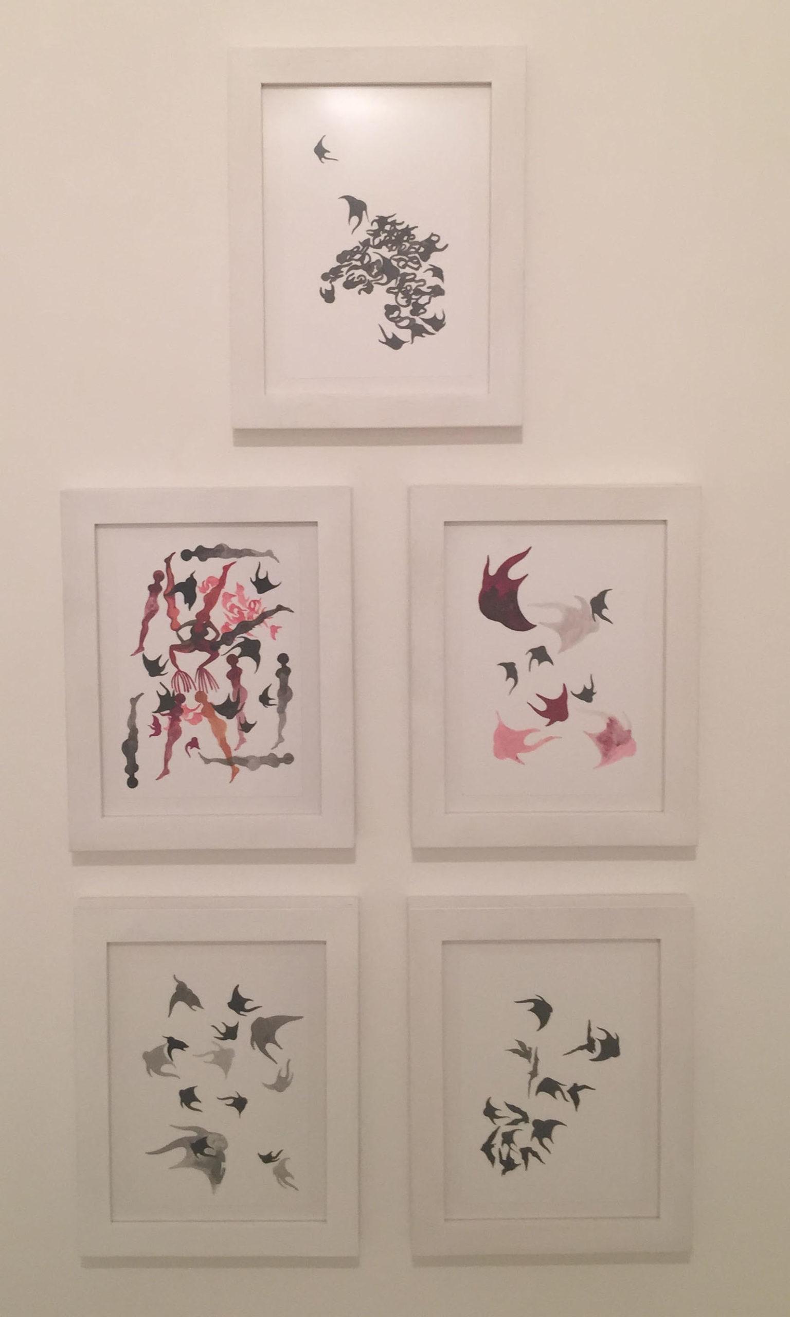 """""""Motifs in movement"""" 2017, acquarello su carta, 30 x 28 cm ognuno"""