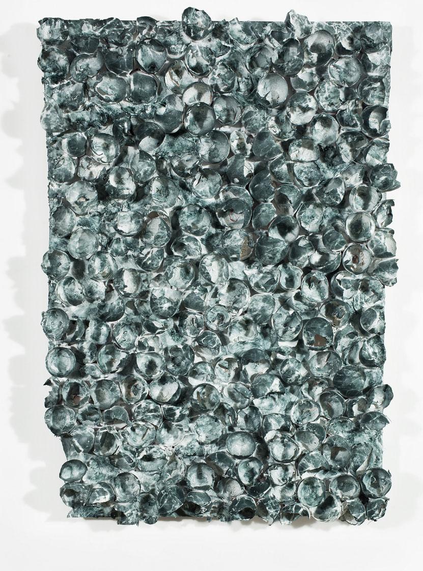 """Marmomarmolade verde"" pittura su gusci d'uovo, 47 x 70 x 9 cm"