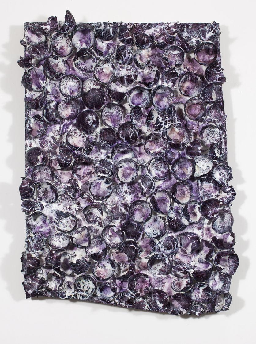 """Marmomarmolade viola"" pittura su gusci d'uovo, 47 x 70 x 9 cm"