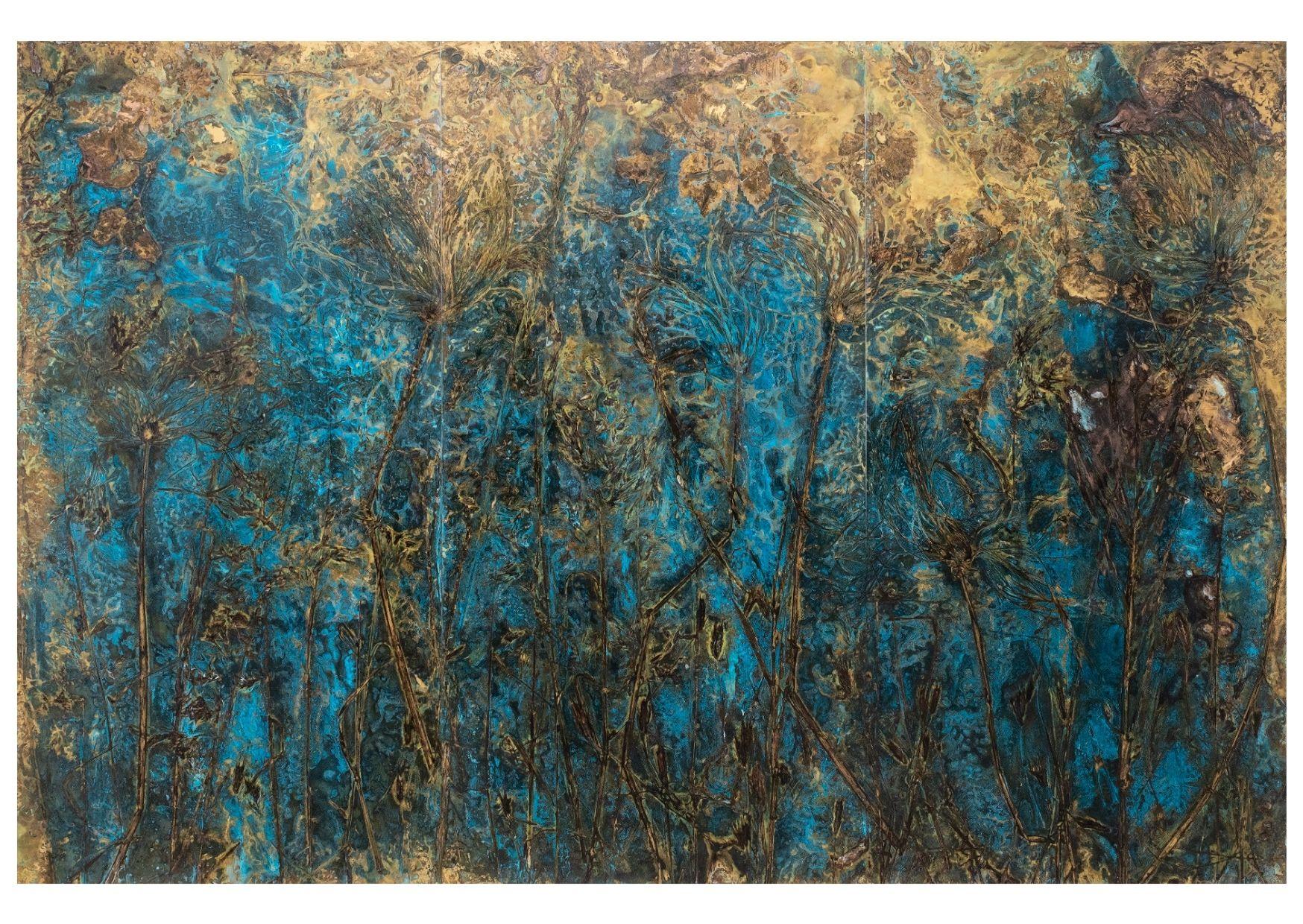 """""""N. 42.5943558, E. 11.4924375"""" 2021, ossidazione su ottone, trittico, 200 x 300 cm totali"""