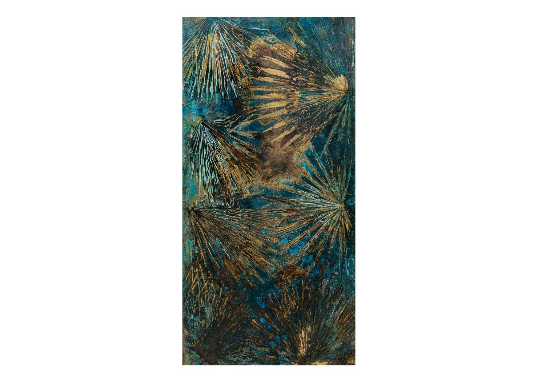 """Brahea Edulis #2"" 2020, ossidazione su ottone, 200 x 100 cm"