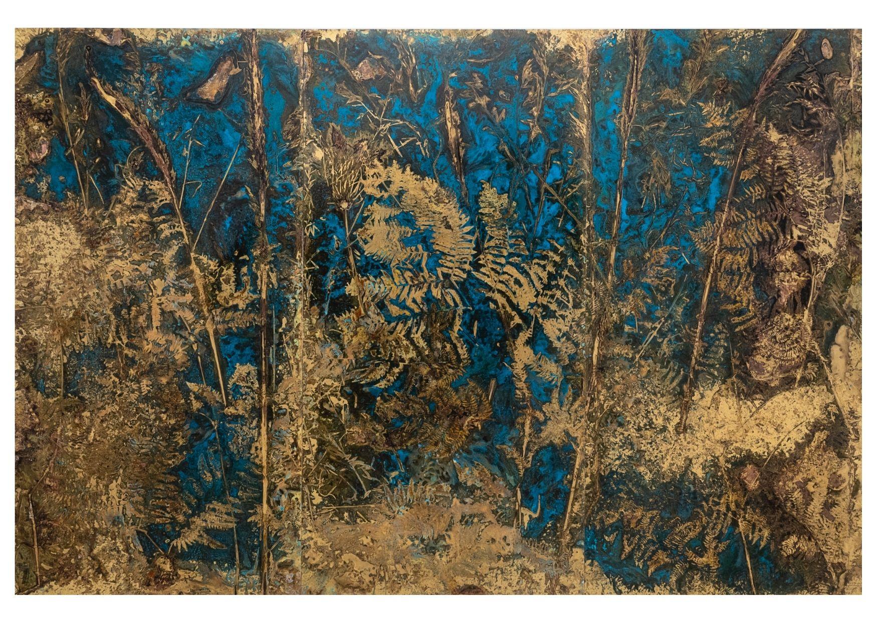 """""""N42.3920013 E11.4373892"""" 2021, ossidazione su ottone, trittico, 300 x 200 cm totali"""