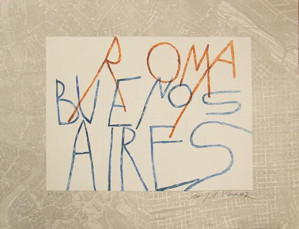 """MIMMO PALADINO """"Roma-Buenos Aires"""" 2007, acquatinta, fotoincisione e stampa a secco in rilievo, 94 x 73 cm, ed. 24"""