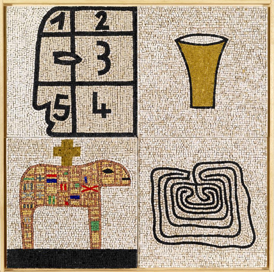"""MIMMO PALADINO """"Senza titolo"""" 2007, mosaico, 75 x 75 cm, ed. 12"""