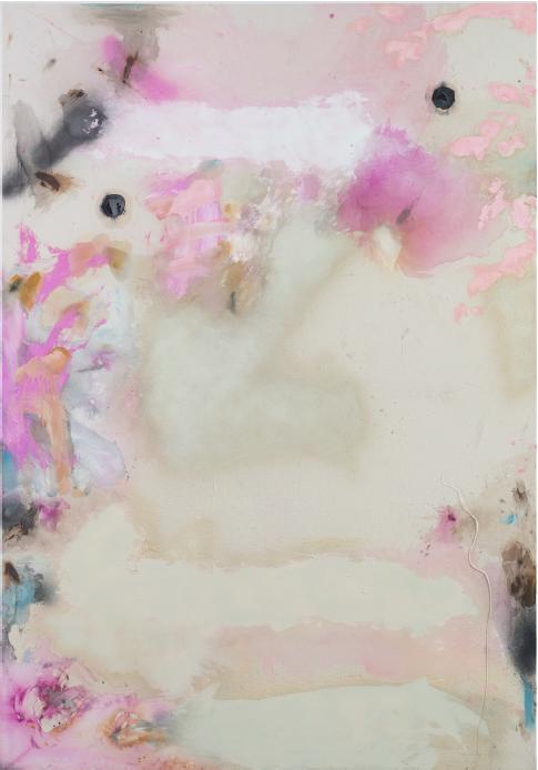 """""""Anabattista donna"""" 2016, acrilico e vernice spray su ecopelle, 200 x 142 cm"""