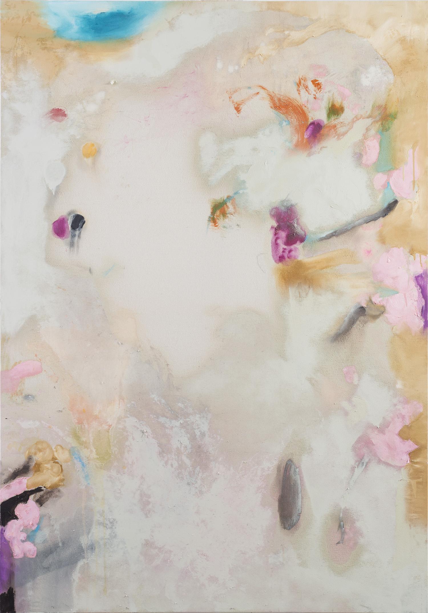 """Bernt"" 2016, acrilico e vernice spray su ecopelle, 200 x 142 cm"