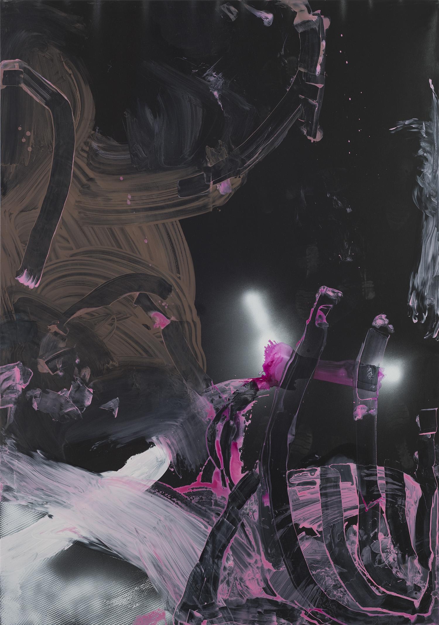 """Johann"" 2026, acrilico e vernice spray e olio su ecopelle, 200 x 140 cm"